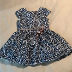2T navy, white, and pink tulle lined floral dress